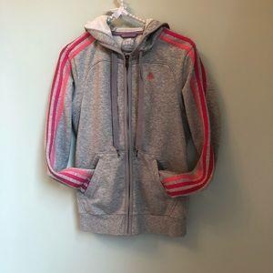 Adidas Gray Zip Front Hoodie XS